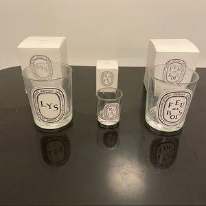 Diptyque Set of 3 empty Candle Jars.